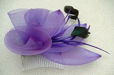 Coiled Mesh Flower & Feather Fascinator - Various Colours