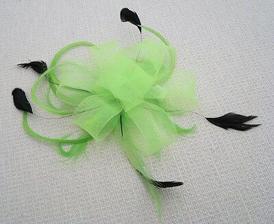 Netted Neon Flower & Feather Fascinator On Clear Comb - Various Colours