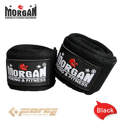 "MORGAN Muay Thai Kick Boxing MMA COTTON HAND WRAPS 180""-4m long Black"