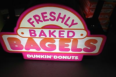 dunkin donuts light up store bagel  2 Sided Hanging sign. RARE