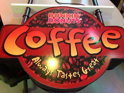 dunkin donuts light up store Coffee   2 Sided Hanging sign. RARE