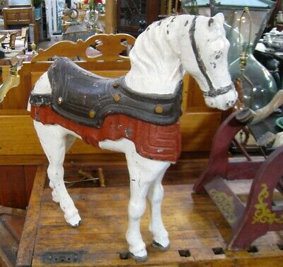 Antique Cast Iron Carnival Decorative Horse | Americana, Large Scale