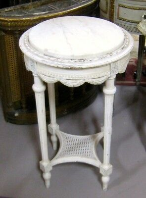 Antique Italian Marble-Topped Round Table End Table Lamp Table