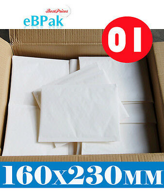 200x Bubble Envelope  #01 - Plain BLANK - 160x230mm * SIZE 01 Padded Bag Mailer