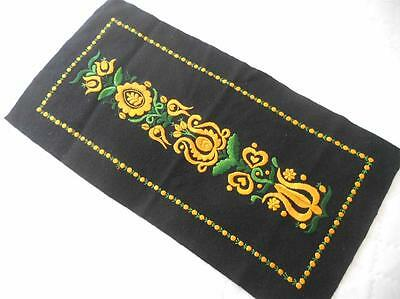 VINTAGE HAND EMBROIDERED YELLOW FLOWERS ON BLACK WOOL PANEL CUSHION FRAME CRAFT
