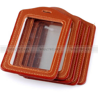5pcs Brown Faux Leather Business ID Credit Card Badge Holder Clear Pouch Case