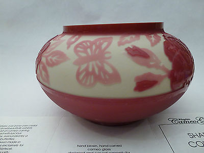 Pilgrim Cameo Glass Shadows Collection BOWL by Kelsey Murphy Cranberry look