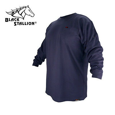 Revco Flame Resistant Cotton Long Sleeve Navy Blue T-shirt Large FR