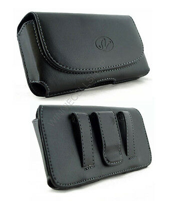 Black Leather Horizontal Belt Clip Case Pouch for Cell Phones ALL CARRIERS NEW