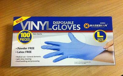 100 Pc Large Powder Free Vinyl Blue Disposable Gloves Multi Work Hand Care