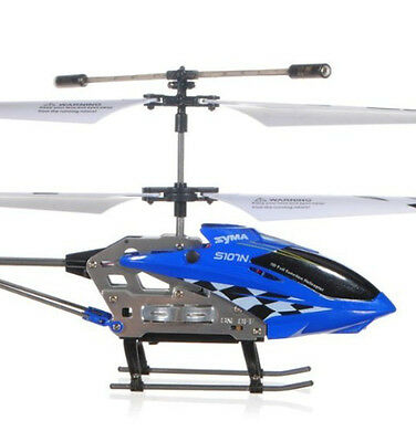 Syma S107N Rtf New 3 Channel Mini Metal Rc Remote Control Helicopter Gyro BluE