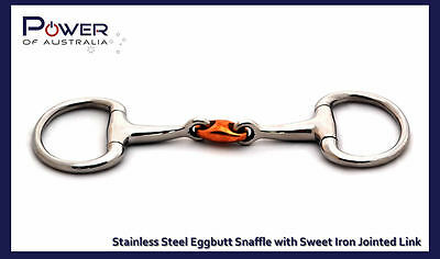 Horse Bit Stainless Steel Eggbutt Snaffle with Sweet Iron Jointed Link