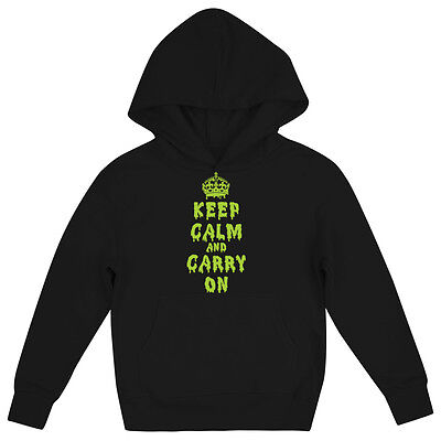 Keep Calm And Carry On Girls Dripping Halloween Childrens Fancy Dress Hoodie