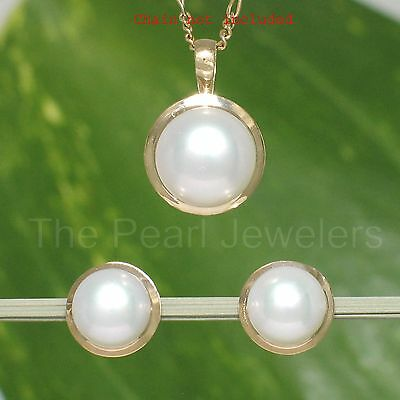 Genuine 8.5-9mm Cultured Pearls Earring & Pendant Featuring 14k Yellow Gold TPJ