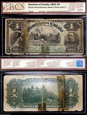 Banknote 1900 $4 Dominion of Canada  Still Very Beautiful and Scarce