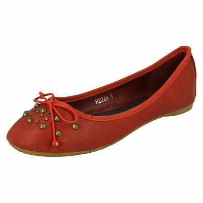 Cutie H2R244 Girls Red Bow & Studded Detail Flat Dolly Shoe/Pumps (R34A)