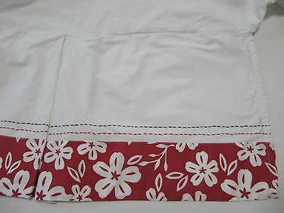 Pottery Barn Kids   Red And White Print Blue Stitching  Crib Skirt Euc