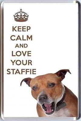 KEEP CALM and LOVE YOUR STAFFIE Fridge Magnet Staffordshire Bull Terrier image
