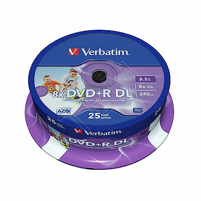 Verbatim DVD+R  Double Layer DL 8.5GB White Full Face Printable Dual Layer 43667