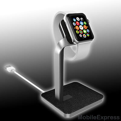 GENUINE Mophie Charge Charging Premium Aluminium & Leather Dock for Apple Watch