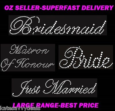 Iron On Wedding Transfers,rhinestone Bride,bridesmaid,wifey,hen Party,more