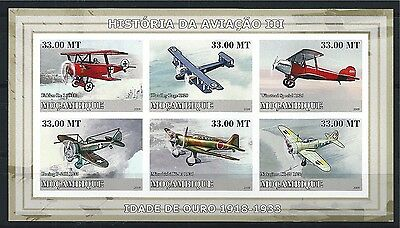 MOZAMBIQUE MOSAMBIK 2009 HISTORY OF AVIATION AIRCRAFT MNH MiNr: 3228 - 3233 B