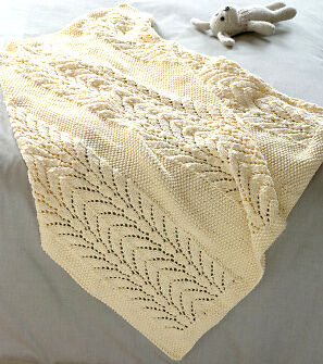 Knitting Blanket Moss Stitch : Patchwork Heart Baby Blanket Knit in Squares 32