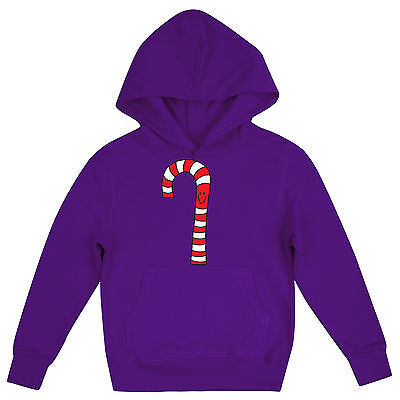Mr Candy Cane Festive Girls Fun Novelty Childrens Christmas Hoodie
