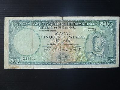 Macao Lot P-47a 1958 50 Patacas Fine-Banco Nacional Ultramarino Add Collection