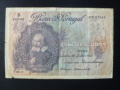 Portugal Lot P-120 1920 5 Escudos F Rare First Year Add Collection
