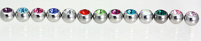 Replacement threaded Crystal Gems Sized in 1.2MM X 3MM-1.6MM X 4MM- 5MM -6MM