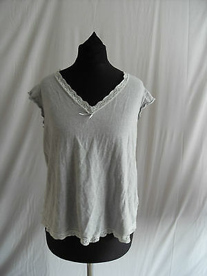 Next Maternity Ladies Vest Top Size 12 Grey With Lace Trim  T8