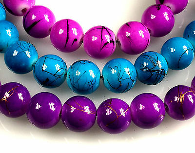 50 x PURPLE~OR~CHOOSE COLOUR~ROUND~GLASS BEADS~WITH GOLD~OR~BLACK  ACCENT, 10 MM