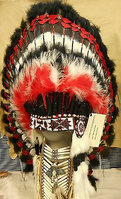 "Genuine Native American Navajo Indian Headdress 36"" CHIEF Red, Black, & White"