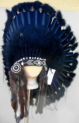 "Genuine Native American Navajo Indian Headdress 36"" BLACK LEGEND all Black"