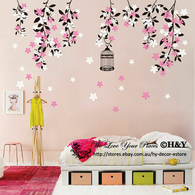 Colour Vine Flowers Wall Sticker Vinyl Decal Kid Nursery Baby Decor Custom Name