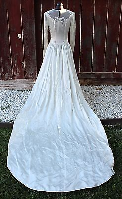 Vintage Deco Era Bridal Gown Wedding Dress Satin Ivory Long Train c1930s Glamour