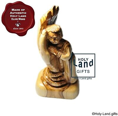 Olive Wood Statue Angel Lying On God Hand Carved Holy Land Made