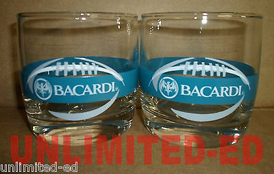 Bacardi Rum Football Rock Glasses - SET of 2 - BRAND NEW - FREE USA SHIPPING