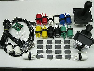 2 Player USB Mame Arcade Kit w/ 2 Joysticks 4/8 way and 16 Push Buttons 60 in 1