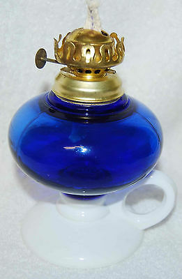 COBALT BLUE & MILK GLASS KEROSENE FINGER LAMP