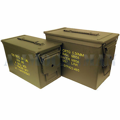 Stenciled 6-Pack! New (3) Fat50 Cal Pa108 Saw Box & (3) 50Cal M2A1 Ammo Cans