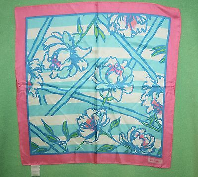 Lilly Pulitzer Scarf Pink Sutton Square Pure SILK SCARF NWTS Shorely Blue