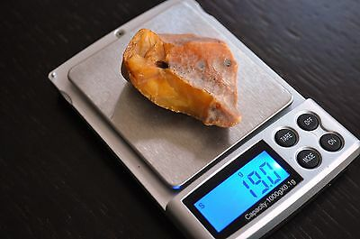 19,0 grams 100 % Real Natural Genuine Butterscotch Baltic Amber Stone Raw