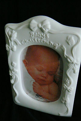 RUSS Baby Collection Christening Ceramic picture Frame Desk 44323 new 3.5x5 whit