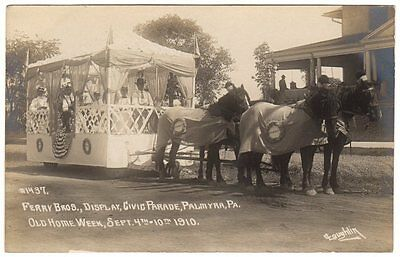 RPPC 1910 OLD HOME WEEK PALMYRA, PA PARADE FLOAT  #1437 FERRY BROS., DISPLAY