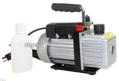 Single Stage 3 CFM 1/3HP Rotary Vane Vacuum Pump HVAC Air AC A/C R410a R134a