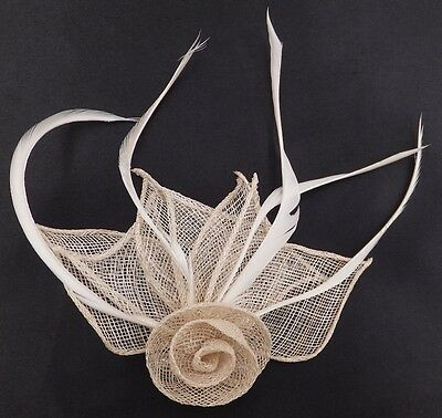 Hessian Net Rose & Feather Fascinator On A Forked Clip And Brooch Pin