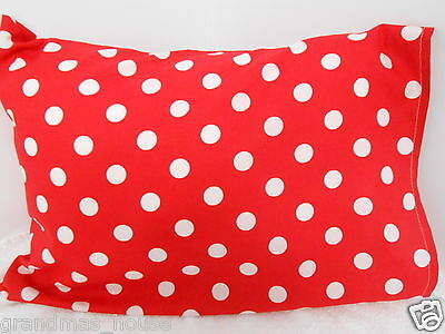 Pillowcase Red Polka Dots Child Toddler Cot Size 100% Cotton