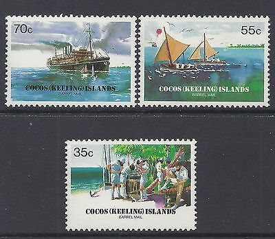 1984 Cocos Islands Barrel Mail From Ships/boats Set Of 3 Fine Mint Muh/mnh